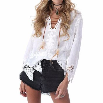 PEAPGB2 2016 Autumn Women Blusas Elegant Blouse Tops Sexy V Neck Long Sleeve Lace Embroidery Vintage Bandage Casual Loose Solid Shirts