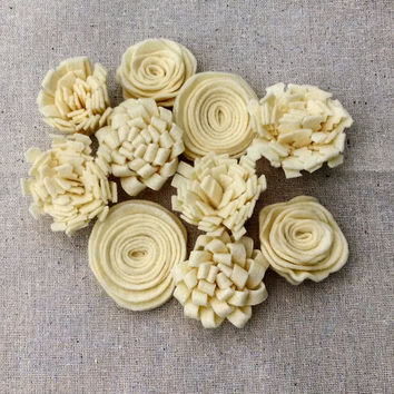 Ivory wool felt flowers, ivory flower embellishments,flower add on,DIY flowers,pillow embellishment, wool felt, 1.00 US shipping - Set of 10