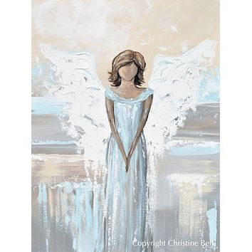 """Her Protecting Love is with You"" ORIGINAL Abstract Angel Painting Elegant Guardian Angel Blue White 30x40"""