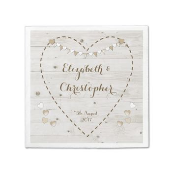 Rustic Wedding paper napkins bunting and hearts