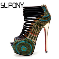 2016 Green Party Shoes Evening Sandals With High Heel Peep Toe Pump Red Bottom Women SexyHigh Heels Ladies Shoes Peacock Pumps