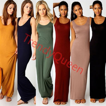Trendy Basic 6 Colors Casual Comfortable Maxi Dress Round Neck Summer Beach Wear