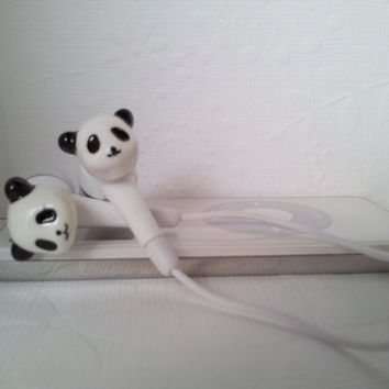 Sweet Mini  Panda earbuds by HoneyBadgerBuds on Etsy