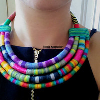 African jewelry/African clothing/Chunky statement necklace/Modern statement necklace/Bold necklace/Large necklace/Knit necklace/Yarn jewelry