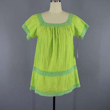 Vintage 1970s Lime Green Cotton Crochet Tunic Blouse