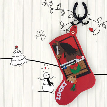 Horse Christmas Stocking, Personalized Christmas Stockings, Red Felt Stockings, Christmas Stocking, Custom Christmas Stockings
