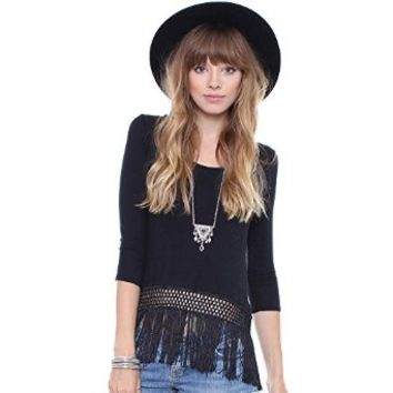 Junior's Black Fringe 3/4 Sleeve Top AY14914A