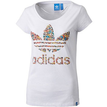 """Adidas"" Fashion Movement Leisure Print Round Neck Short Sleeve T-shirt"