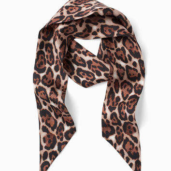 White House Black Market Silk Leopard Mini Scarf