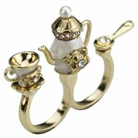 Teapot Double Finger Ring from CherryKreations21