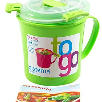 Sistema 656ml (22.1 oz) Soup Mug To Go, Green, 2-Pack