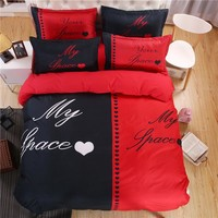 Couple's Bedding Set (Duvet Cover Sheet Pillowcase) Cotton Polyester My Your Space Valentines Engagement Present Black & Red