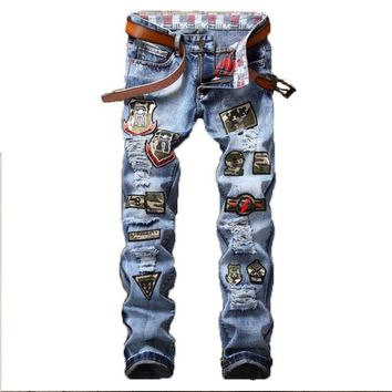 European American Style Street broken mens jeans pants embroidered badges