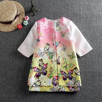 Girl Clothing Kids Clothes Girls Outfits (Jacket+Dress) Print Mode Children Clothing Girls Sets