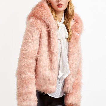 Pink Faux Fur Hooded Hook And Bar Coat | MakeMeChic.COM