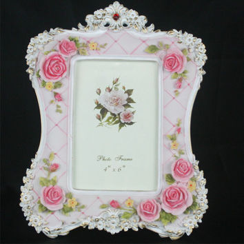Retro Vintage Pink Rose Flower Home Decor Photo Frame Picture Frame Resin 4''*6''