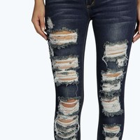 Evie Low Rise All Over Distressed Skinny Jeans