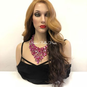 "Ombre' Blonde Brown Lace front Wig 22"" e27 