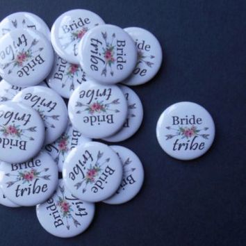 "20 x Hen Party Bride Tribe 1"" (25mm) Favour Badges Hen Team Party Do Wedding 