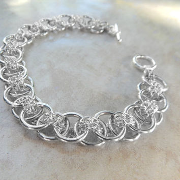 Unique Woven Chain Bracelet // Chain Maille Jewelry // Silver Chainmail Bracelet