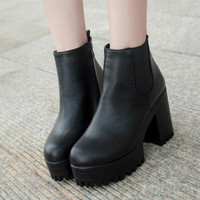 2015 Spring autumn women boots platforms square heel ankle boots paint leather boots fashion british style high martin boots