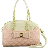 Betsey Johnson Be My Honey Buns Dome Satchel Shoulder Bag, Blush, One Size