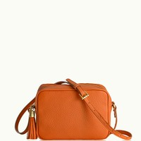 GiGi New York Madison Crossbody Orange Pebble Grain Leather