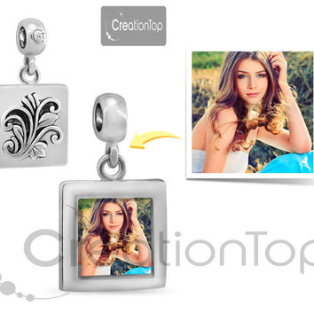 Personalized charm for any Pandora bracelet Memory dangle charm with flower