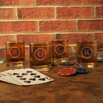 Old Fashioned Personalized Shooter Glass with Monogram & Font Selection (Three Ounce Engraved Shot Glass - Whiskey Service)