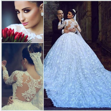 Charming New Model See Through Back Lace Appliques Long Sleeve Wedding Dress 2015 Real Brides