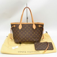 Authentic Louis Vuitton Neverfull PM Shoulder Tote Hand Bag Monogram Brown Gold