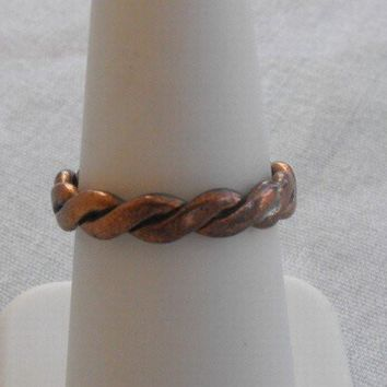 Copper Braided Ring Size 6.75 Vintage Jewelry