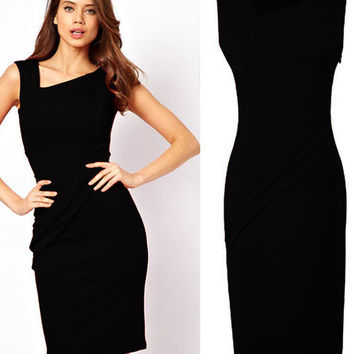 Black Sleeveless Bodycon Midi Pencil Dress