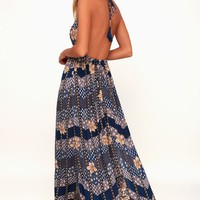 Annalisa Blue Multi Floral Print Halter Maxi Dress