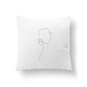 Thinking Woman Pillow, Home Decor, Cushion Cover, Throw Pillow, Minimalist Silhouette, Bed Pillow, Female Art, Single Line, Black And White