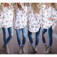 Fashion Women's Ladies Summer Floral Loose Tops Long Sleeve Shirt Casual Blouse