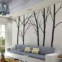 Five Winter Trees Vinyl Wall