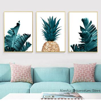 Nordic Pineapple Painting Wall Posters Cuadros Decoracion Posters And Prints Plant Art Poster Canvas Painting