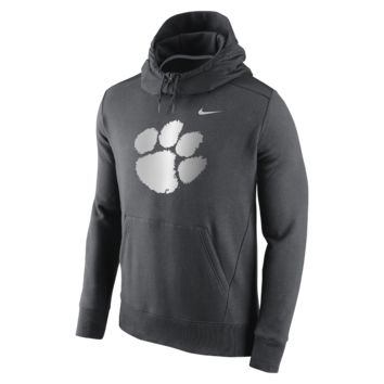 Nike College Hybrid Fleece Pullover (Clemson) Men's Hoodie Size 2XL (Grey)