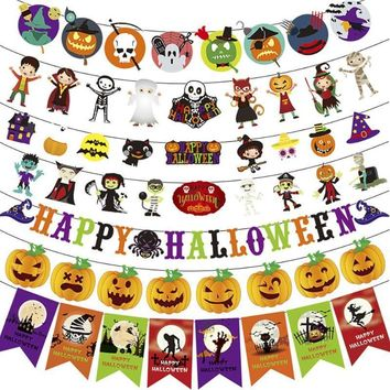 Halloween Hanging Triangle Flag Colorful Pumpkin Cartoon Banners Pennant Bunting Home Decor Holiday Decoration Party Supplies
