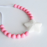 Chew Necklace for Kids/Oral Sensory Toy/Kids Fidget Necklace/White Star with Soft Pink/FREE shipping on U.S. orders