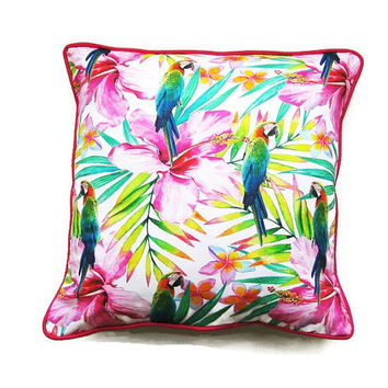 Cushion cover, throw pillow, home decor, digitally printed parrots and tropical flowers, pink, citrus green, yellow, turquoise blue cotton.