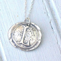 Wax Seal Initial Necklace - Custom Monogram