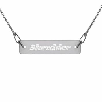"Sterling Silver ""Shredder"" Engraved Bike Necklace / Mountain Bike Jewelry, Bicycle Necklace, Bicycle Jewelry, Bicycle Gift, Cyclist Jewelry"