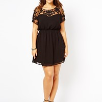 New Look Inspire | New Look Inspire Embroidered Mesh Insert Dress at ASOS