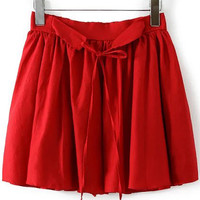 Red Tie Waist Pleated Shorts