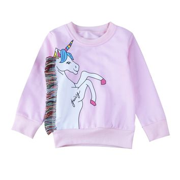 Cute Kids Baby Girls Clothes Unicorn Winter Hoodies Tops Sweatshirt Toddler Kids Girls Clothes 1-7Y
