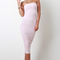 Strapless Ribbed Knit Midi Dress Color: Pink, Size: M