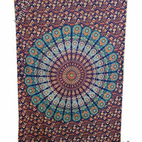 "Amitus Exports 1 X Peacock Flower 80""X53"" Approx. Inches Color Cotton Fabric Multi-Purpose Handmade Tapestry Hippy Indian Mandala Throws Bohemian Tapestries"