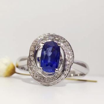 1.208ct+0.137ct 18K Gold Natural Sapphire Women Ring with Diamond Setting 2016 New Fine Jewelry Wedding Band Engagement